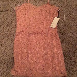 Lacy mini mauve pink dress